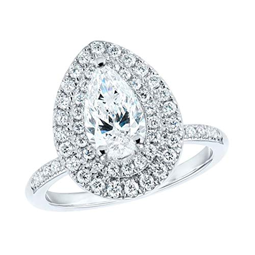 (10k Real White Gold 3.50 Ct Pear & Round Cut Simulated Diamond Double Halo Engagegement Ring 9)