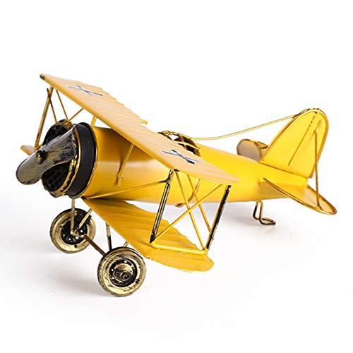 M Joy Vintage Airplane Model-Metal Aircraft Biplane Home Decor Ornametal Handicraft Kids Toy Model,Christmas,Souvenir,Ornament,Desktop Decoration (Yellow) ()