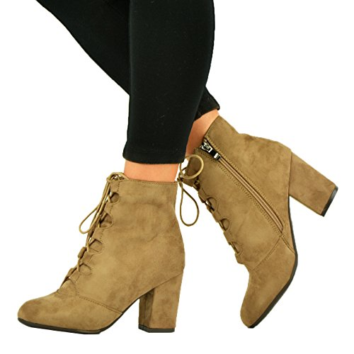 NEW LADIES WOMENS HIGH BLOCK HEEL ZIP LACE UP BOOTIES ANKLE BOOTS SHOES SIZE UK Taupe sKo1s19uyS