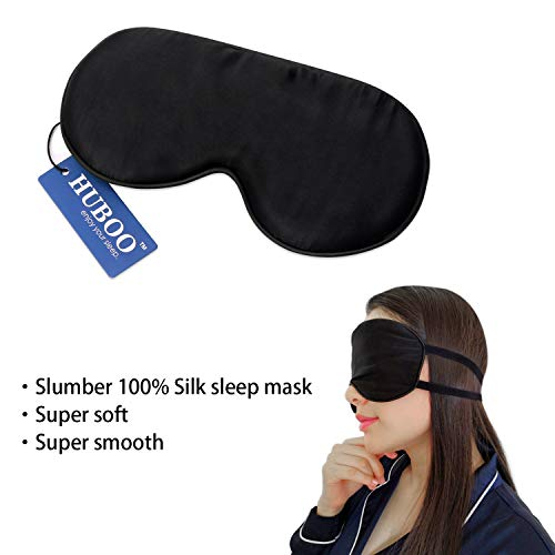 Sleep Mask Soft Natural Silk Eye Mask for Sleeping Blindfold Eye Covers with Double Adjustable Strap for Men and Women - Black