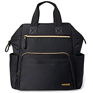 Skip Hop Diaper Bag Backpack: Mainframe Large Capacity Wide Open Structure with Changing Pad & Stroller Attachement, Black with Gold Trim