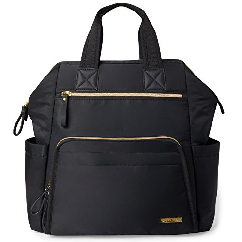 - Skip Hop Diaper Bag Backpack, Mainframe Large Capacity Wide Open Structure, Black with Gold Trim