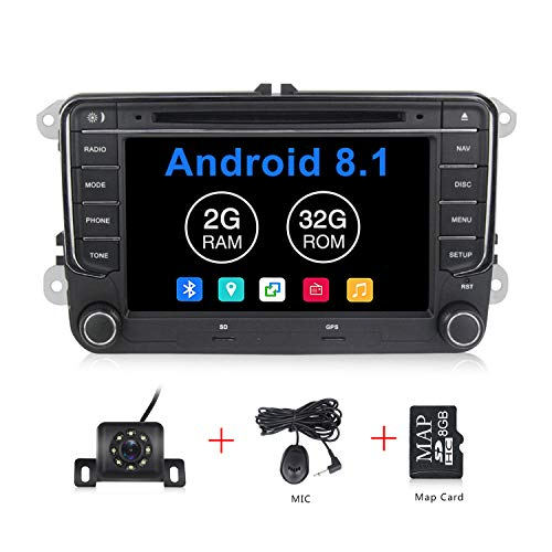 (Android 8.1 OS 7 inch Touch Screen Car Radio Systems DVD for VW Volkswagen Beetle Skoda Golf 5 Golf 6 Polo Passat B7 T5 CC Jetta Tiguan Vehicle GPS Car Multimedia Navigation)