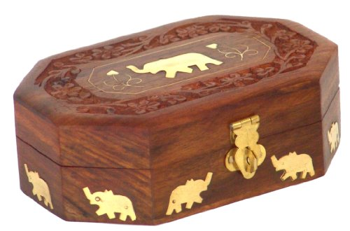 Wooden Jewelry Box Octagonal Handcrafted Elephant Brass Inlay & Wood - Store India