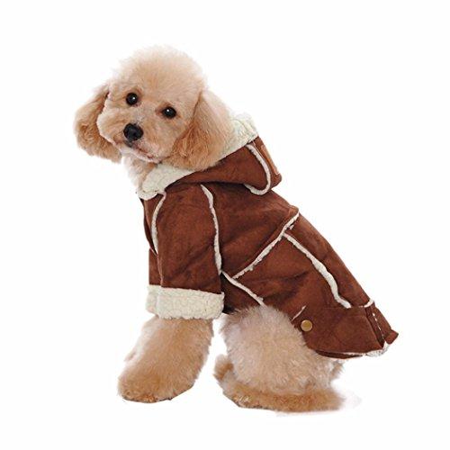 Sunward Puppy Dog Sweaters Fleece Lined Pet Sweatshirt Hoodie Coat (M, (Dog Brown Hoodie)