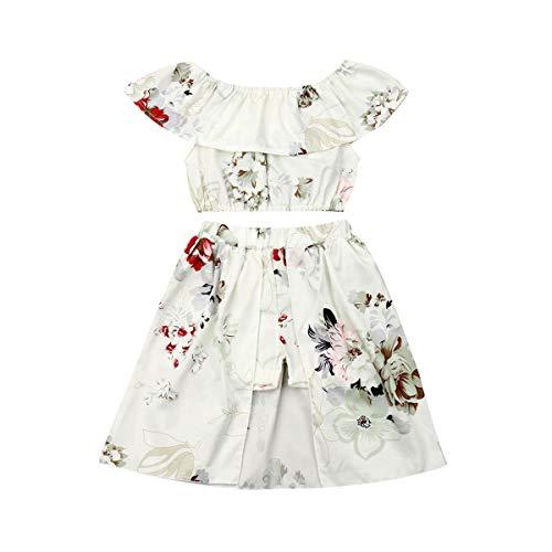 3PCs Toddler Kid Girl Sunflower Print Off Shoulder Crop Top + Pant Skirt + Bowknot Headband (Yellow-2, 6-12 Months)