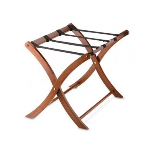Folding Luggage Rack. Portable Wood Suitcase Stand. Classic Design Folds Away for Easy Storage. (Finish Rack Walnut Luggage)