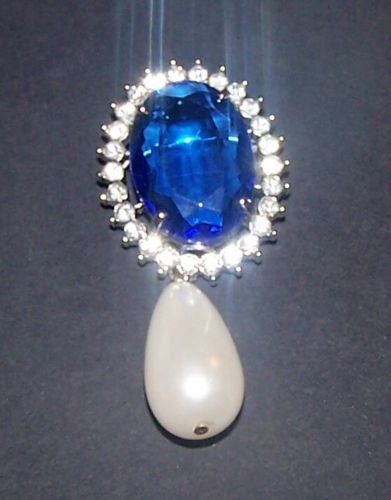 Vintage Royal Sapphire Crystal Jewelry Pearl Gemstone Jewel Brooch Pin Estate CZ (Estate Jewels)