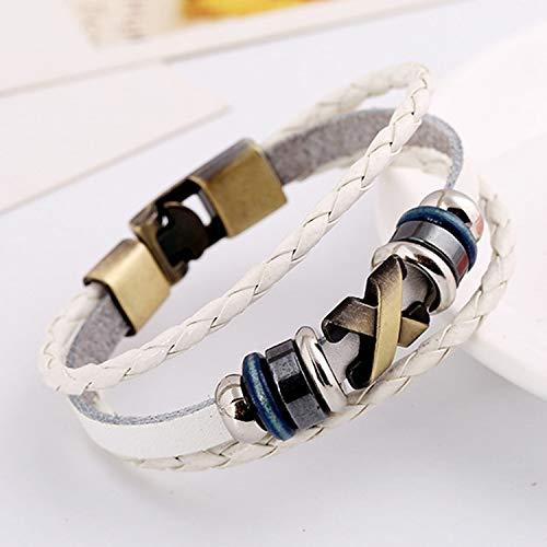 Tea language Female Bracelet Charm Cuff Wrist Band Punk Cross Rivet Leather Woven Wrap Stainless Steel Bead Bracelet,White