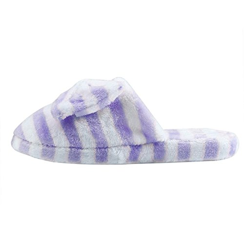 Culater® Women Soft Warm Indoor Bowknot Cotton Slippers Home Anti-slip Shoes Purple bQGMD7ik