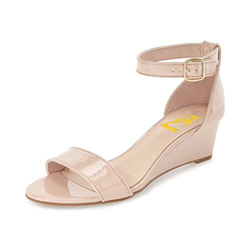 FSJ Women Summer Open Toe Ankle Strap Buckle Comfy Shoes Low Heels Wedge Sandals Size 10 Nude (Wedge Size 10 Sandals)