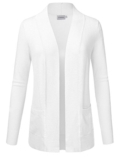 JJ Perfection Women's Solid Knit Open Front Cardigan With Pockets WHITE L