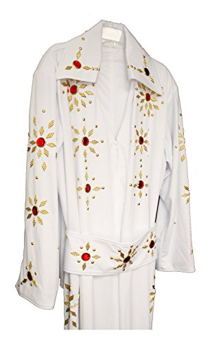 Men's Elvis Presley Deluxe Jumpsuit Costume with Cape (1XL, White (Red Stones))