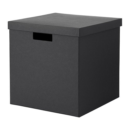 IKEA Storage Box With Lid Black 503.954.76 Size 11 ¾x11 ¾x11 ¾ (Tjena Storage Box)