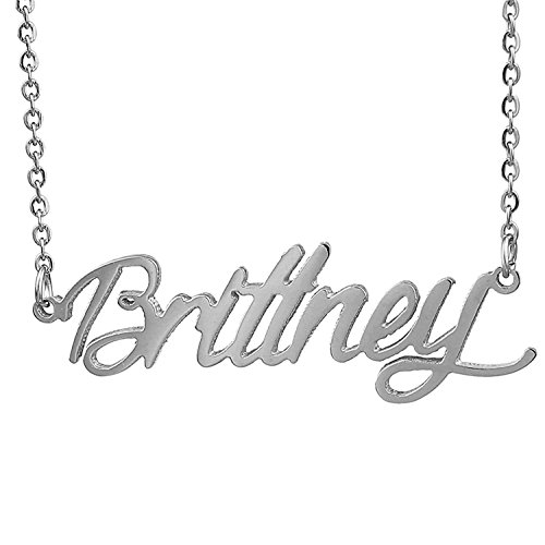 HUAN XUN Stainless Steel Dainty Name Necklace, Brittney