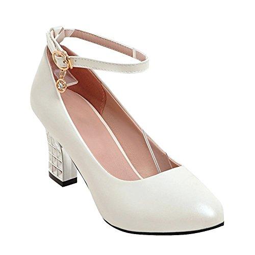 MissSaSa Damen high heel Ankle-Strap geschlossen Pumps Weiß