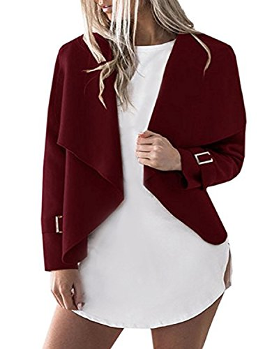 Cnfio Women's Long Sleeve Short Jacket Coat Irregular Lightweight Casual Cape Cardigan Wine Red L - Waterfall Wine