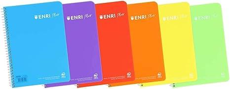 Pack de 5 Cuadernos Enri Cuartilla Pauta de 3,5 mm Tapas de Plástico: Amazon.es: Oficina y papelería