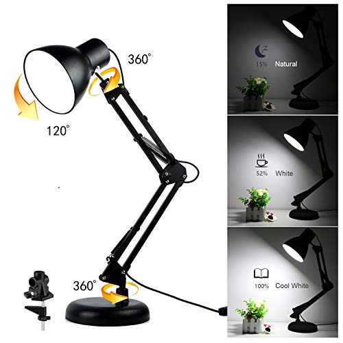 Swing Arm Desk Lamp - Dimmable LED Bulbs, Base and Clamp Included, Eye-Care Metal Multi-Joint Architect Table Light for Office/Drafting/Reading/Work/Bedside, Adjustable Dimmer Switch