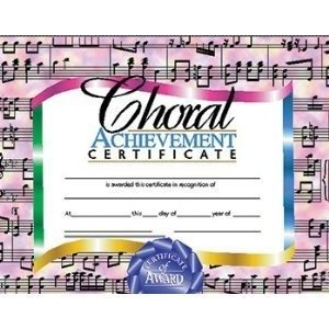 Choral Certificate (Set of 30)
