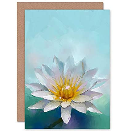 Amazon Com Wee Blue Coo Flower Lotus Painting Greeting Card