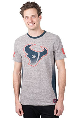 Ultra Game Men's NFL Vintage Ringer Short Sleeve Tee Shirt, Houston Texans, Gray, X-Large