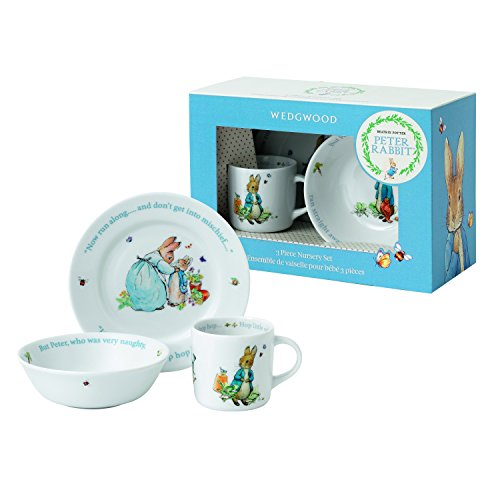 First Christmas Plate (Wedgwood Boy's Peter Rabbit 3-Piece Plate, Bowl and Mug Set, White and Blue)