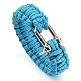 Cosmos ® 8″ Aqua Blue Color with Stainless Steel D Shackle Survival Bracelet Strap with Cosmos Fastening Strap, Outdoor Stuffs