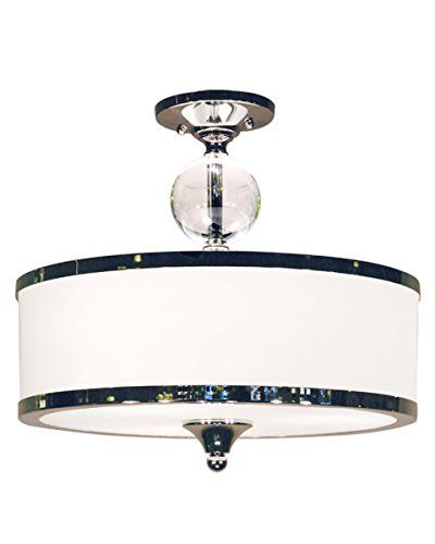 Z-Lite 307SF-CH Cosmopolitan Three Light Semi Flush Mount, Metal Frame, Chrome Finish and White Shade of Glass Material