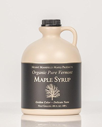 Mansfield Maple Certified Organic Pure Vermont Maple Syrup in Plastic Jug Golden Delicate (Vermont Fancy), Half Gallon