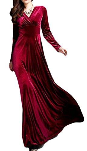 Jaycargogo Femmes Manches Longues Couleur Unie Élégant Velours Col V Mince Robe Maxi En Forme De Vin Rouge