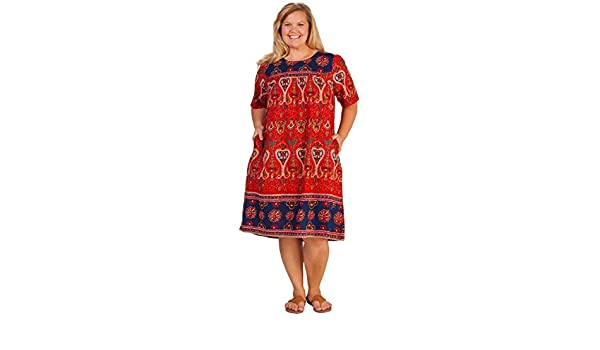 8f6ab49d20a57 La Cera Plus Short Sleeve Cotton Float Dress - Lounger Caftan in Royal  Crimson at Amazon Women s Clothing store
