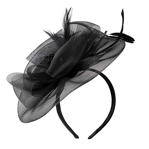 Sayhi Women Flower Mesh Hair Clip Fascinators Hat Pillbox Hat Cocktail Tea Party Headwear for Girls (Black,free size)