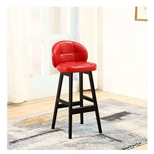 ABARB Bar Stool Wooden Leg Breakfast Chair with Backrest High Footstool Widening Artificial Leather Soft Cushion Quilted Vintage Brown Solid Wood Stool Modern Minimalist 8 Colors Home Lounge Chair ()