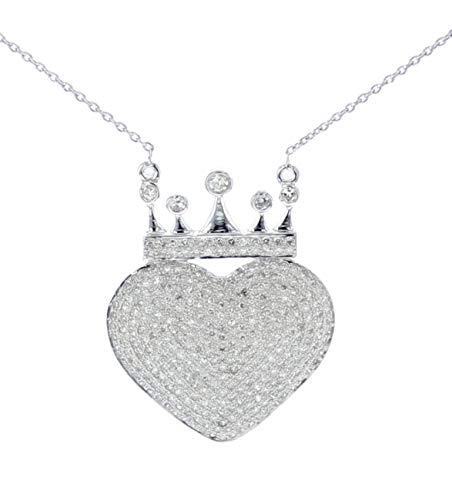 Diamond Heart With Crown Pendant and Necklace Set for Women 10K White Gold 0.99ctw 29MM X 22MM