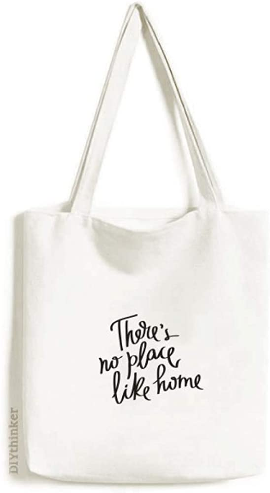 There's No Place Like Home Quote Tote Canvas Bag Shopping Satchel Casual Handbag