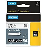 Dymo 18488 RhinoPRO Adhesive Nylon Fabric Thermal Transfer Label Tape, 12 mm x 3.5 m Cassette - Black Print on White