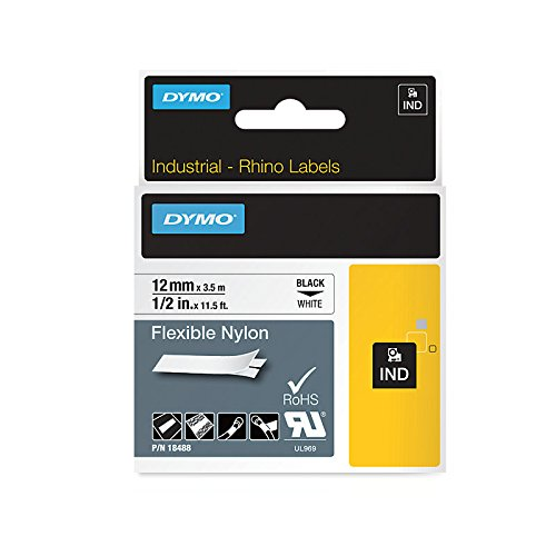 DYMO Authentic Industrial Labels for LabelWriter and Industrial Label Makers, Black on White, 1/2