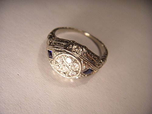 Beautiful Antique Estate 14K White Gold Filigree Diamond Sapphire Ring (Filigree & Ring Sapphire Diamond)