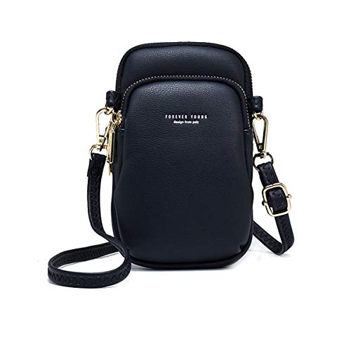 Crossbody Pouch For Women Cellphone Bags Wasit Bag Soft Leather Pocket Retro Chest Sling Pocket With Strap Black