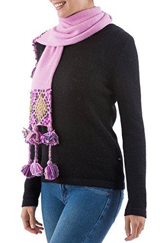 - NOVICA Multicolor Peruvian Blend Solid Knit Scarf, Strawberry Sprinkles'