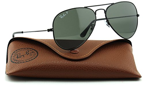 Ray-Ban RB3025 Unisex Aviator Polarized Sunglasses (Black Frame/Green Polarized Lens 002/58, - Aviator Black Bans Ray
