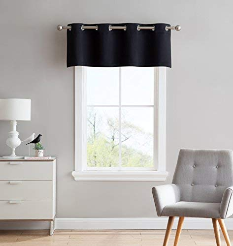 Nicole - 1 Valance Curtain Panel - Premium Grommet Blackout - 54 inch Wide x 18 Long - Solid Thermal Insulated Draperies - Ideal for Any Room and Bedroom (1 Valance 54X18, Black) (Grommet Black Valance)