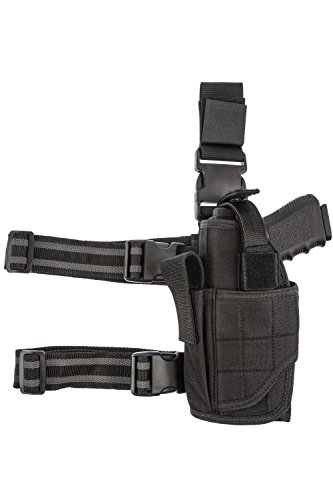 (CCW Tactical Leg Holster - Wrap Around Thigh Design for Men and Women with Fully Adjustable and Removable Belt Hanger Strap, Left Handed, Black)