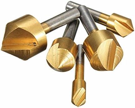 6pc Hex Flute HSS Chamfer Metric Titanium Countersink Drill Bit Set 6mm-19mm