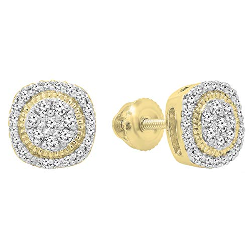 Dazzlingrock Collection 0.30 Carat (ctw) 10K Round White Diamond Ladies Cluster Stud Earrings 1/3 CT, Yellow Gold (Authentic Stud Earrings)
