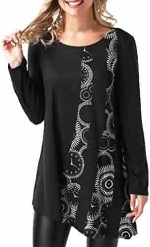 Orangeskycn Women Blouses Long Sleeve Pullover Print Patchwork O-Neck T-Shirt