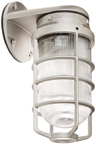 RAB Lighting VBR100DG/F13 Vaporproof Glass Globe Cast Guard Compact Fluorescent Fixtures with Wall Mount Bracket, Quad Type, Aluminum, 13W Power, 825 Lumens, 120V, Natural