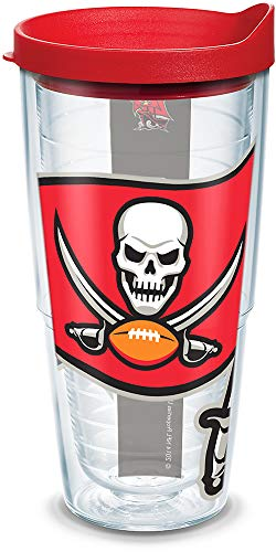 (Tervis 1141264 NFL Tampa Bay Buccaneers Colossal Tumbler with Wrap and Red Lid 24oz,)