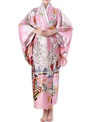 SexyTown Women's Satin Long Kimono Robe Japanese Traditional Costume Night Gown